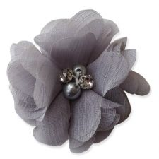 5cm Pearl Diamante GREY Fabric Flower Applique